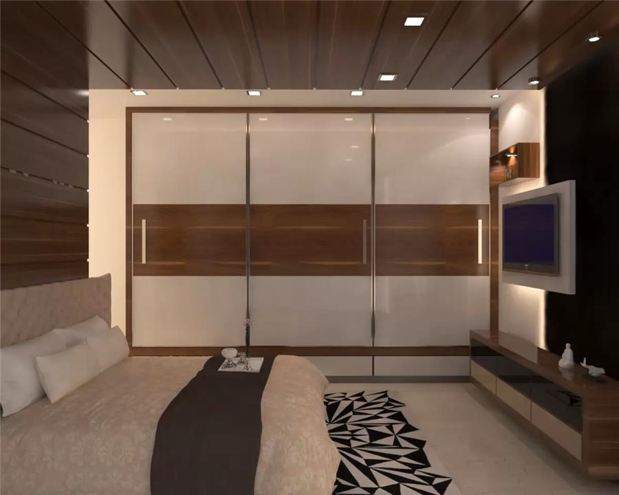2bhk flat master bedroom  Designed by icraf