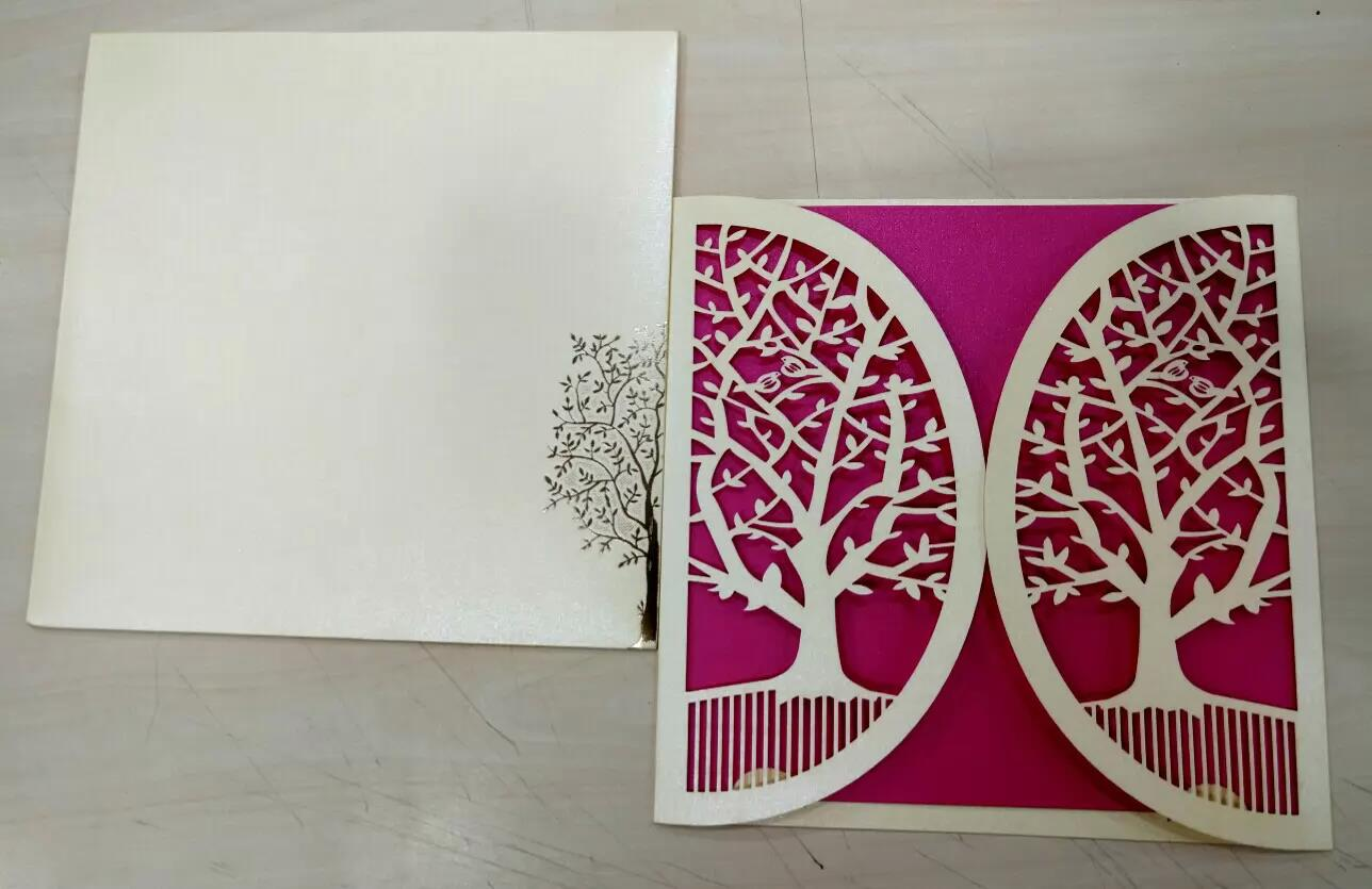 Cream and Pink combination laser cut card