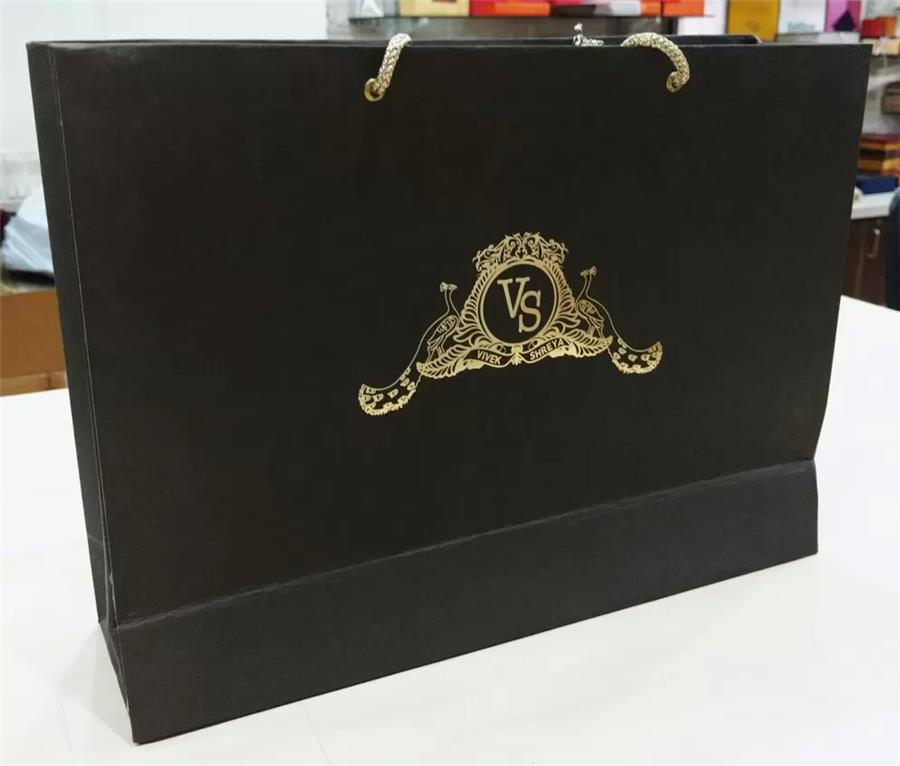 Velvet finish Paper Bag with Foiling