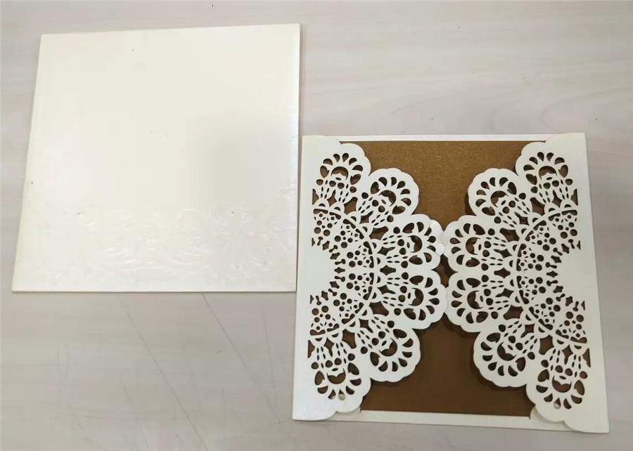 White Metallic and brown sheet laser cut we
