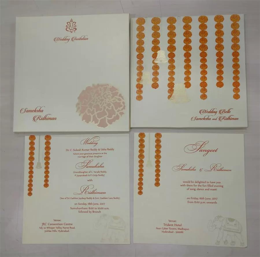 Marigold flower based Wedding Card