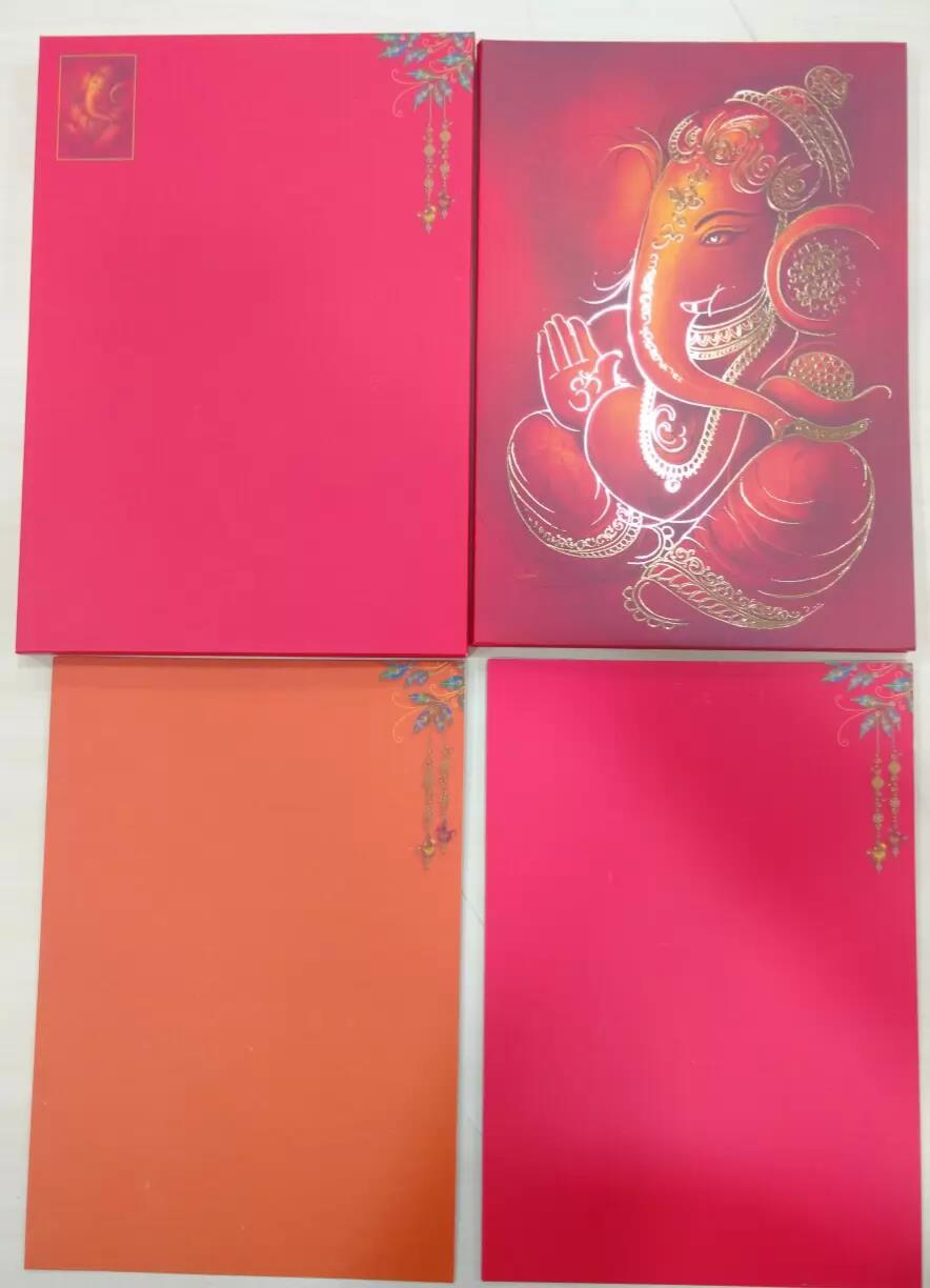 Hard bound card in red colour