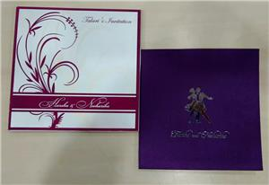 Satin card with silver metal cutting logo