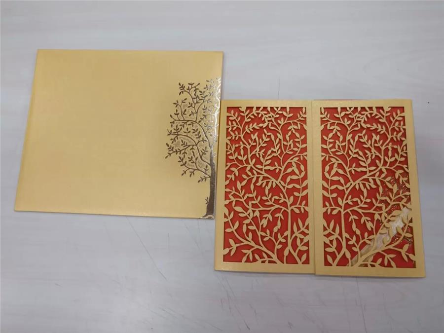 Yellow metallic laser cut card