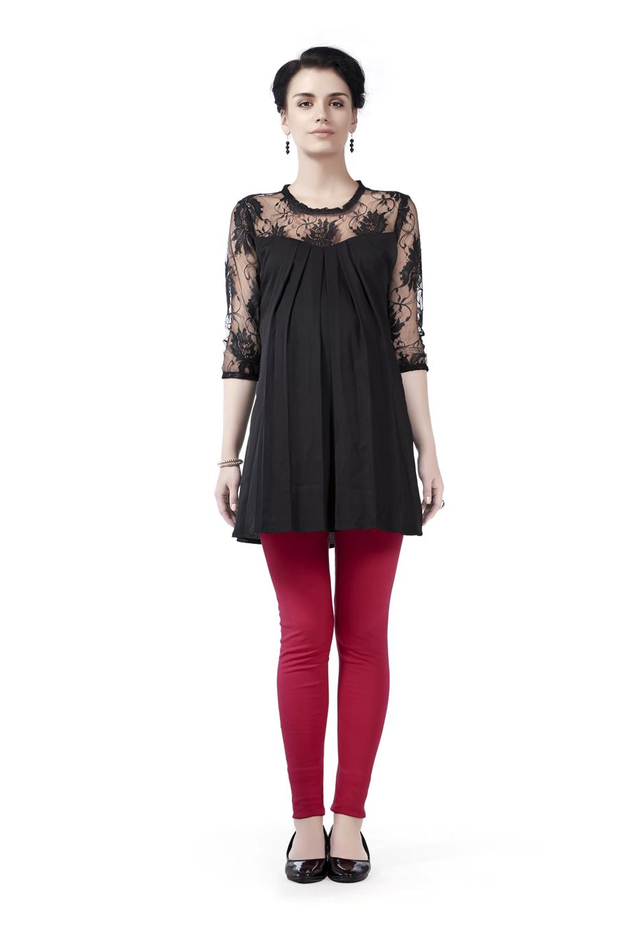 Innovative presents Lace Yoke and Sleeve Maternity Tunic Top
