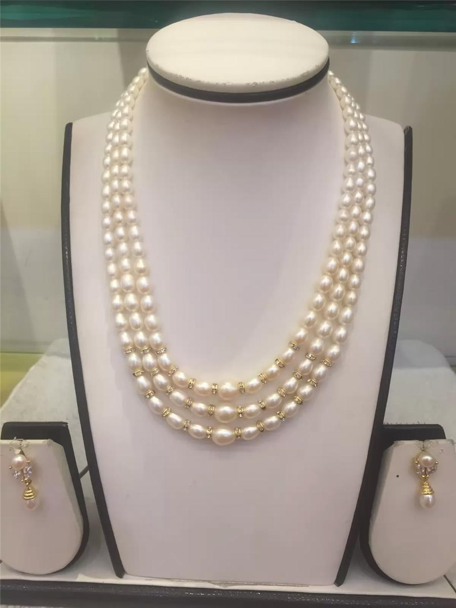 Natural pearls 3 lines set