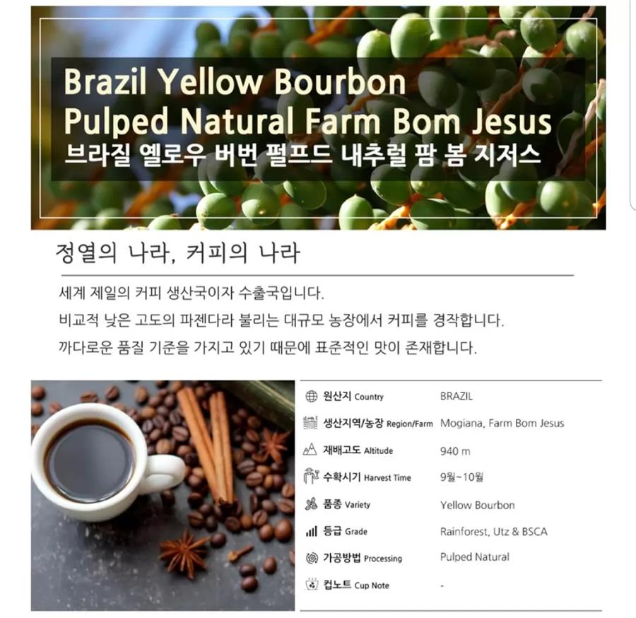 Brazil yellow bourbon pulped natural