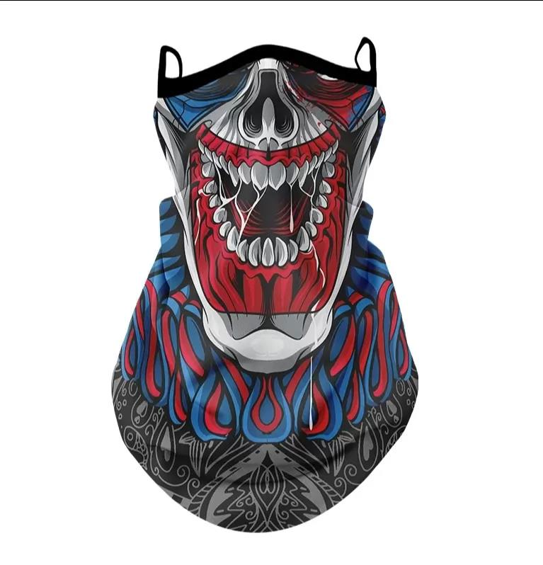 ($13) 2021 3D Skull Bandana Scarf Hanging Ear Cover Scarf Breathable Windproof Multifunctional